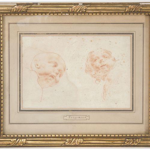 Ecole du XIXème siècle Portrait de têtes d'enfants.  Sanguine et pierre noire su…