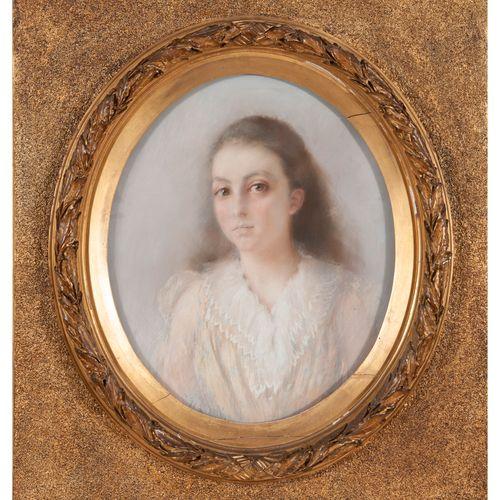 Paul ANTIN (1863 1930) Portrait de jeune fille.  Pastel sur papier rectangulaire…