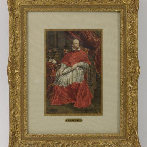 BARCLAY (XIXème siècle) 红衣主教在室内。  纸上水彩和水粉画。  右下方有签名。  17,5 x 11厘米(见图)。  镀金的木质框架(…