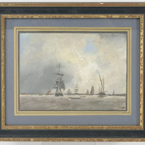 Ecole italienne dans le goût du XVIIIème siècle 动画的河流景观或海景。  四幅水彩画和水粉画拍品。  16.5 …