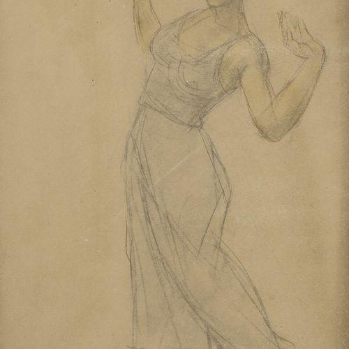 Odilon ROCHE (1868 1947) Etude de femme.  Mine de plomb et aquarelle sur papier.…
