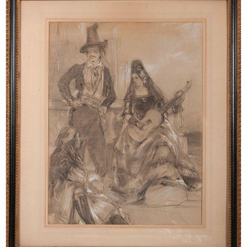 Ecole de la fin du XIXème début du XXème siècle Femme à la mantille jouant de la…