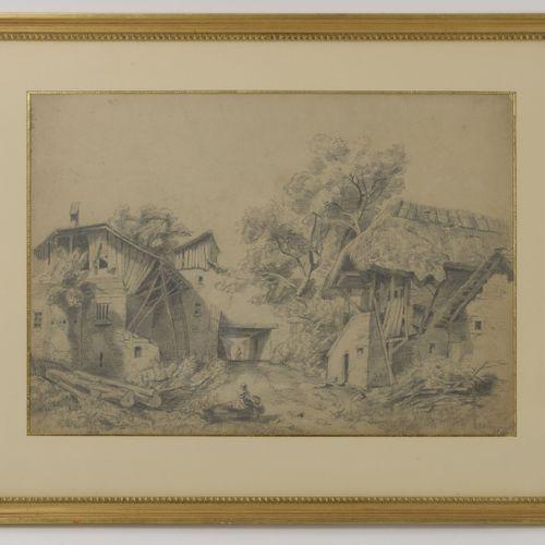 """Ecole du XIXème siècle Corps de ferme animé.  Mine de plomb sur papier.  Signé """"…"""