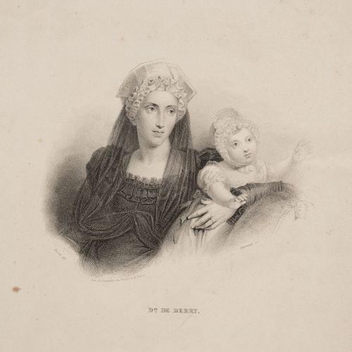 表现两西西里公主和贝里公爵夫人玛丽 卡洛琳 费迪南德 路易丝 德 波旁的一套三幅纸上版画。  19.5 x 13.5厘米(展出),27 x 18厘米和17 x …