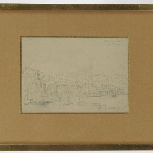 Lot de quatre dessins du XIXème siècle : Vue de la ville de Pouzzoles (Naples). …