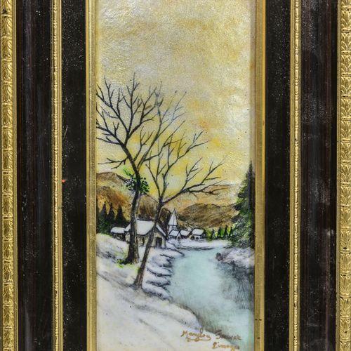MARYLOU FAUVET, LIMOGES La rivière et le village en hiver.  Plaque en cuivre éma…