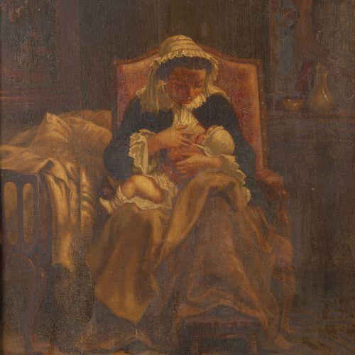 Ecole de la seconde moitié du XIXème siècle 哺育孩子的妇女。  板上油彩。  右下角有Monogrammed和186…