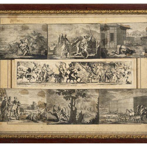 Lot de 4 gravures anciennes : 偷偷的吻。   这是我的想法。  形成一个吊坠。  主题尺寸:34.5 x 43厘米。   设计的飞…