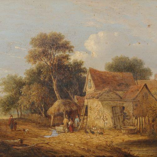 Samuel Davis COLKETT (1806 1863) Ferme animée dans le Norfolk.  Huile sur pannea…