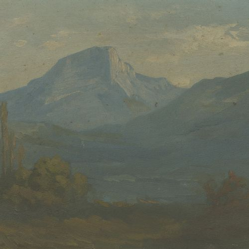 TRENCA (fin XIXème début XXème) 山地景观。  板上油彩。  右下方有签名。  19 x 27,5 cm。框架边缘有划痕、磨损。木…