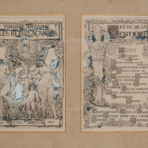 ECOLE FRANÇAISE DU DÉBUT DU XXÈME SIÈCLE Projet de Menu, 1901.  Centième représe…