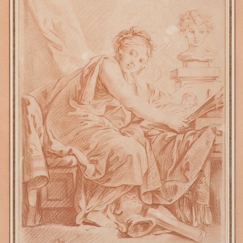 D'après François BOUCHER (1703 1770) La Peinture.  Gravure à la manière de la sa…