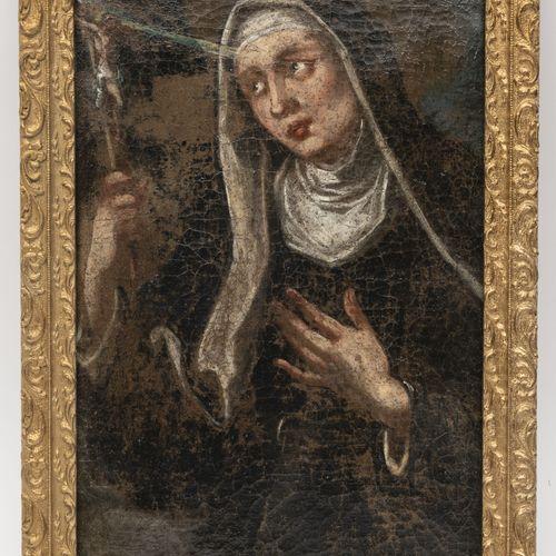 ECOLE FRANCAISE DU XIXème siècle Portrait de soeur au voile en buste tenant un c…