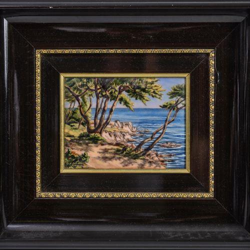 Lot comprenant : C. 烛台,Limoges。  海边。  多色珐琅铜板。  已签名并位于左下角。  视线尺寸:12.3 x 16.5厘米。  …