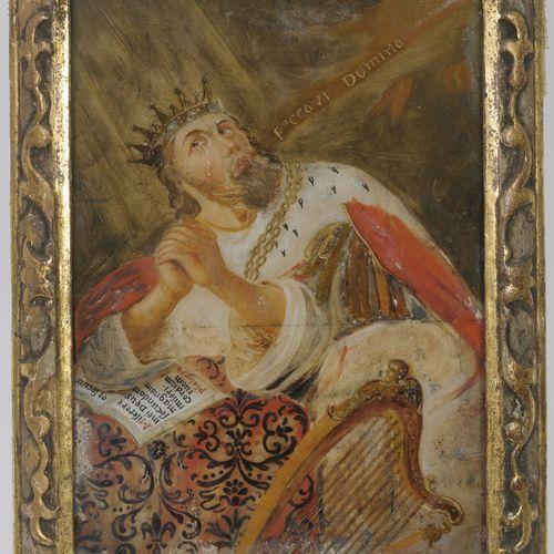 Ecole du XVIIIème siècle Le roi Saül et la harpe de David.  Fixé sous verre.  28…