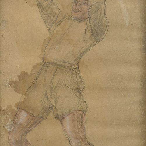 Odilon ROCHE (1868 1947) Le footballeur.  Mine de plomb et aquarelle sur papier.…