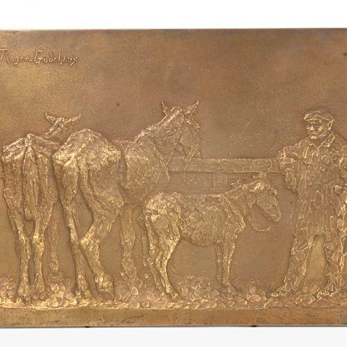 Ecole Moderne Homme aux ânes.  Bas relief en bronze.  Signé en haut à gauche Rog…