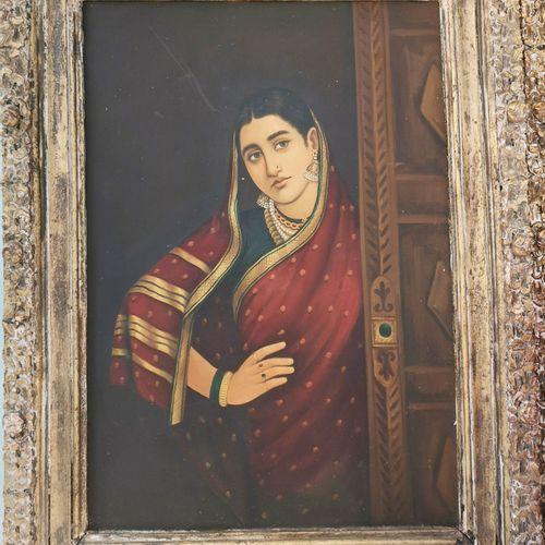 INDE, seconde moitié du XXème siècle Deux jeunes indiennes en sari, l'une derriè…