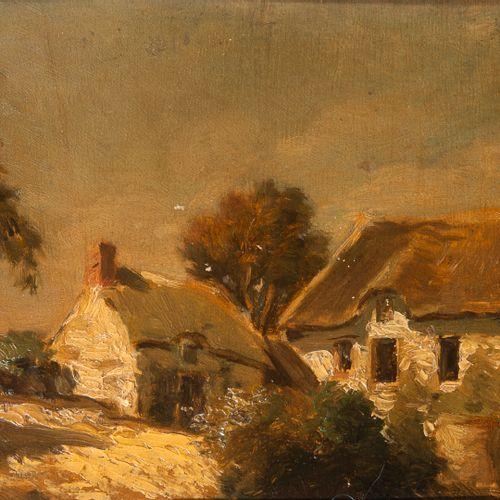 Louis Adolphe HERVIER (1818 1879) Les chaumières.  Huile sur panneau.  Signée en…
