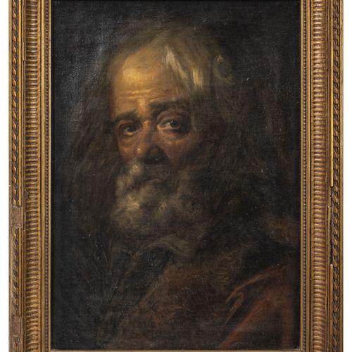 Ecole du début du XXème siècle D'après un portrait d'homme barbu.  Huile sur toi…