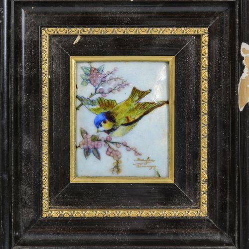 Marylou FAUVET (XX) & LIMOGES Petits oiseaux et fleurs bourgeonnantes.  Trois pl…