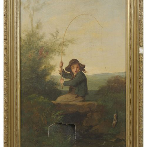 Ecole du XIXème siècle Jeune pêcheur, mauvaise prise !  Huile sur toile.  Trace …