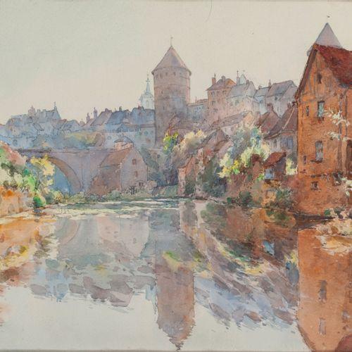 P. MARTIN (XIXème XXème) Cours d'eau au pied d'une ville anciennement fortifiée.…