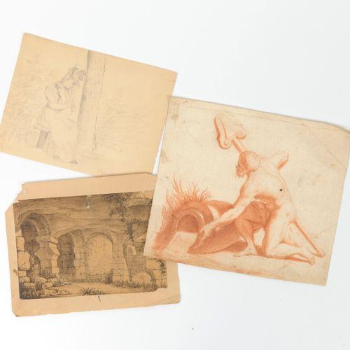 ECOLES DU XIXÈME SIÈCLE Trois dessins sur papier :   Homme tenant une rame, agen…