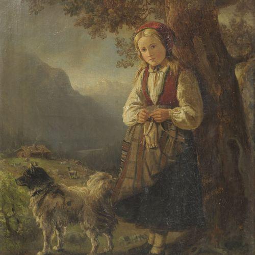 Ecole du XIXème siècle Jeune bergère tricotant et son chien.  Huile sur toile.  …