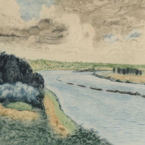 Pierre Auguste RENOIR (1841 1919) Le train de péniches sur la Seine.  Gravure en…
