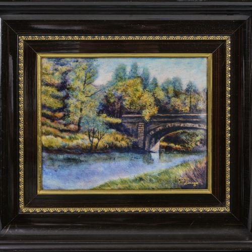 MARYLOU FAUVET, LIMOGES Le pont en automne.  Plaque en cuivre émaillée polychrom…