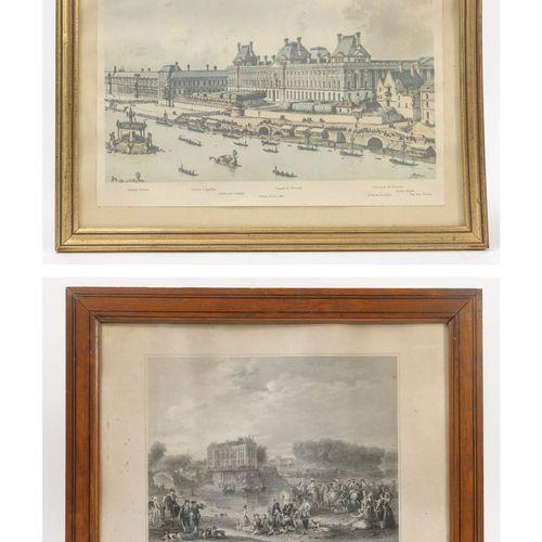 Lot comprenant : Le Louvre sous Louis XV.  Gravure en couleurs sur papier.  22 x…