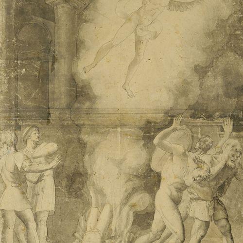 Ecole du XIXème siècle Lot de trois dessins ou étude à la mine de plomb et à l'e…