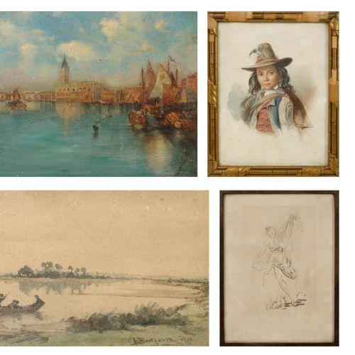 Dans le goût de Félix ZIEM Vue de Venise, le palais des Doges.  Huile sur toile.…