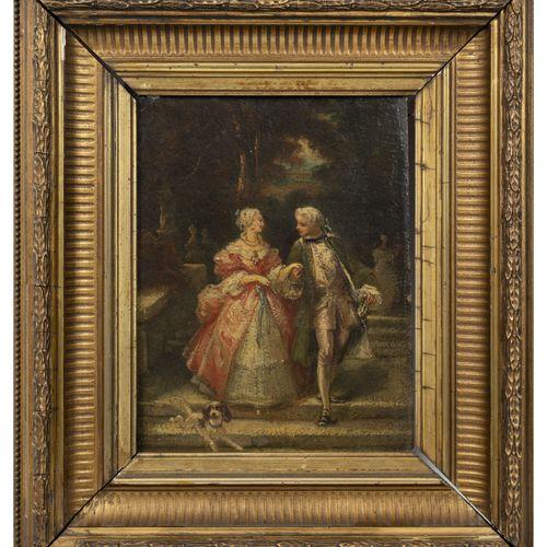 ECOLE DE LA FIN DU XIXème DEBUT DU XXème SIECLE 18世纪风格的夫妇和他们的狗。  纸板上的油彩。  左下角有签名…
