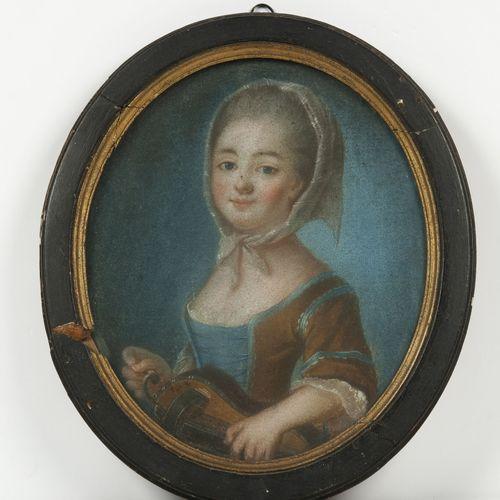 École FRANÇAISE de la fin du XVIIIème siècle La petite joueuse de viole au fichu…