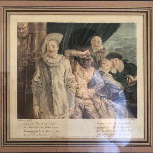 D'après Jean Antoine WATTEAU (1684 1721) 与曼陀林演奏者的侠义场景。   哈勒金、皮埃罗和斯卡平。  两幅加强版画。  …