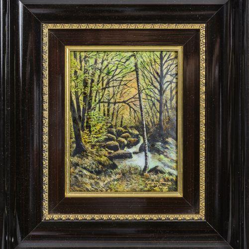 "MARYLOU FAUVET, LIMOGES 春天的森林景观。  多色珐琅铜板。  签名为 ""Marylou"",位于右下方。  17 x 13厘米。   池塘…"
