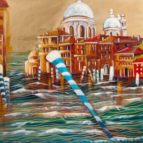 Anne Valérie DUCHATEAU (XXème XXIème siècle) Venise.  Technique mixte sur toile.…