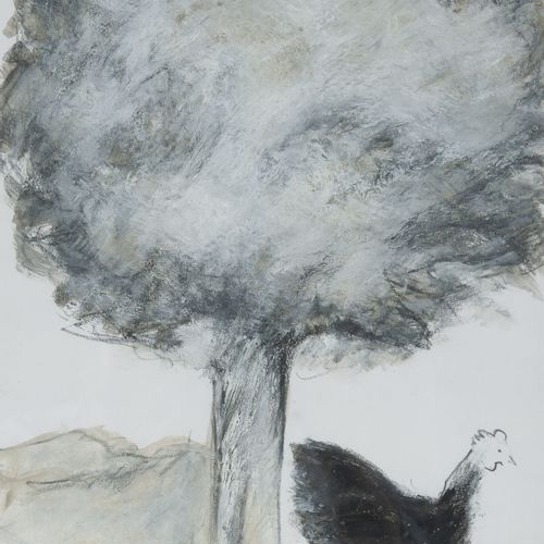 Francine MILLOT (1943) Poule sous un arbre, 2007.  Mine de plomb, fusain et goua…