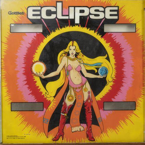 David GOTTLIEB & Co. Eclipse, 1981.  Glace de flipper dans un encadrement en boi…