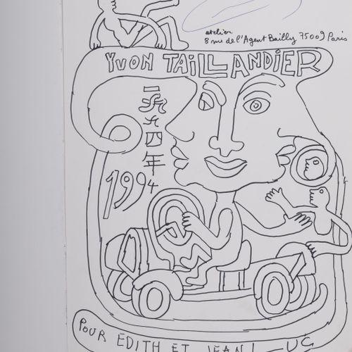Yvon Taillandier (1926 2018) Sans titre, 1994.  Feutre sur papier marouflé sur p…