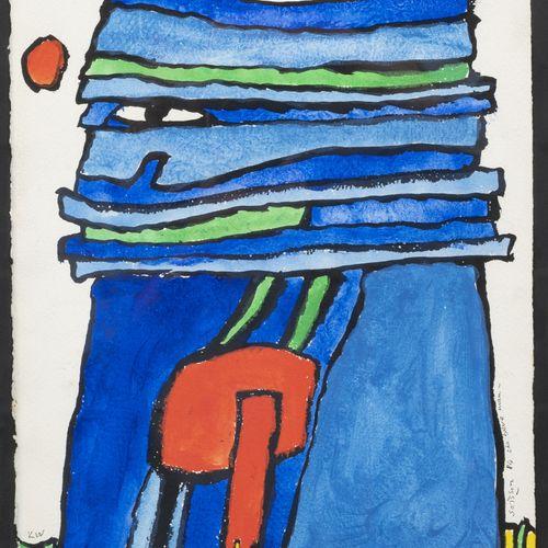 Jacques SOISSON (1928 2012) The Blue man, 1984.  Encre et gouache sur papier.  S…