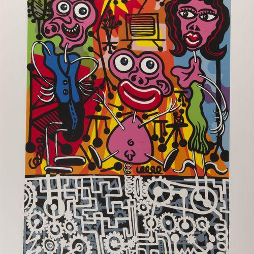 Hervé DI ROSA (1959) Le bonheur truqué, 1990.  Sérigraphie en couleurs sur papie…