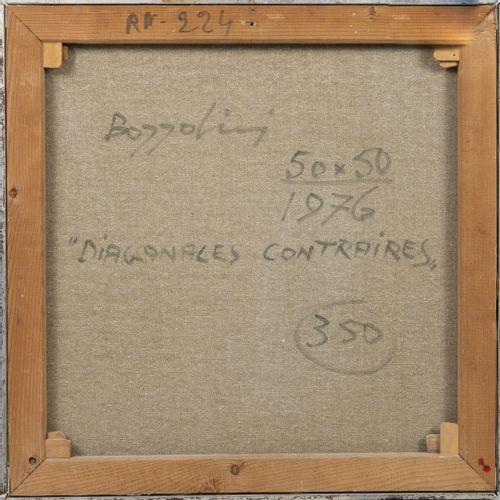 Silvano BOZZOLINI (1911 1998) Diagonales contraires, 1976.  Huile sur toile.  Si…