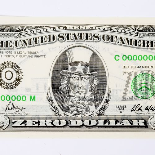 Cildo MEIRELES (1948) Zero Dollar (1978 1984).  Lithographie offset sur papier. …