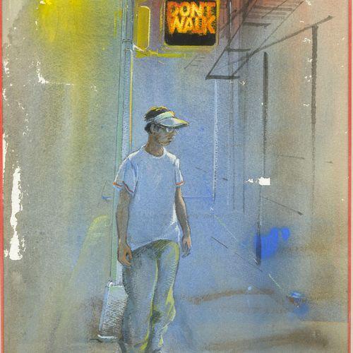 Daniel AUTHOUART (1943) Don't Walk,1998.  Aquarelle et gouache sur papier.  Sign…