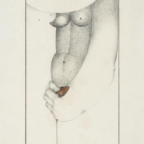 Simone TOUSSAINT (1940) Le couple.  Mine de plomb et crayon de couleur sur papie…