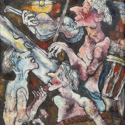 Rurik KALEDIN (1944) L'orchestre, 1980.  Huile sur isorel.  Signé du monogramme …