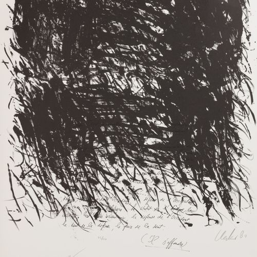 GÜNTHER UECKER (1930) The Silence of Writing, 1980.  Lithographie sur papier.  S…